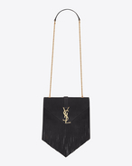 Classic small MONOGRAM SAINT LAURENT fringed satchel nera in scamosciato