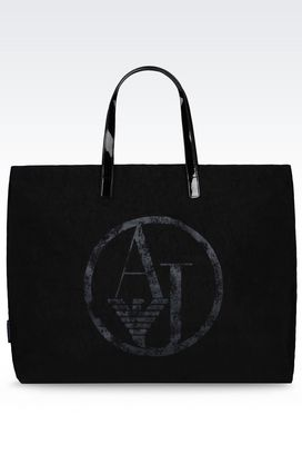 Armani Shoppers Women foldable shopping bag in nylon and patent