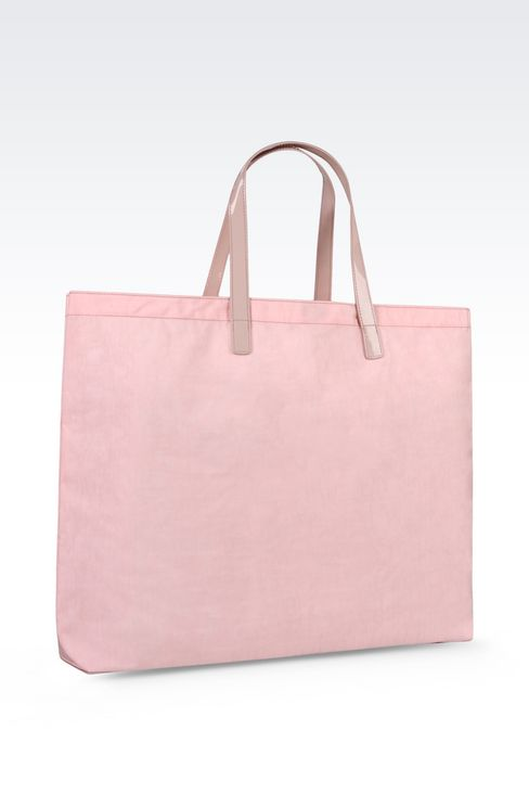FOLDABLE SHOPPING BAG IN NYLON AND PATENT: Shoppers Women by Armani - 3