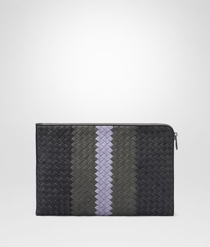 DOCUMENT CASE IN ARDOISE NEW LIGHT GREY OYSTER INTRECCIATO CLUB