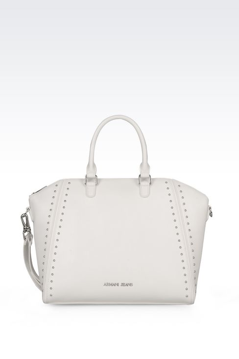 TOTE BAG IN FAUX LEATHER WITH STUDS: Shoppers Women by Armani - 1