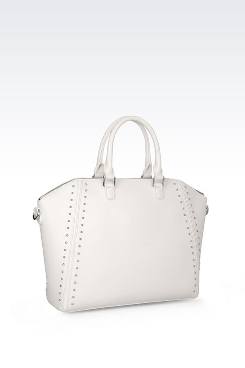 TOTE BAG IN FAUX LEATHER WITH STUDS: Shoppers Women by Armani - 2