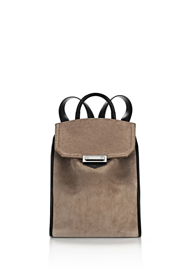 PRISMA BACKPACK IN SUEDE AND OSTRICH EMBOSSED GREIGE