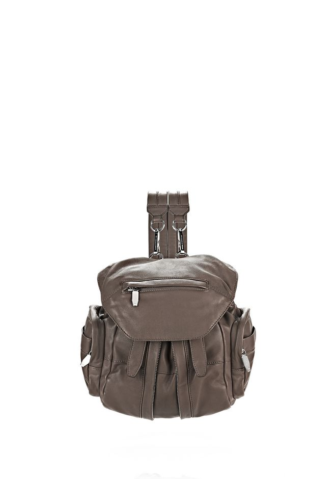 ALEXANDER WANG BACKPACKS MINI MARTI IN TAUPE NAPPA WITH RHODIUM
