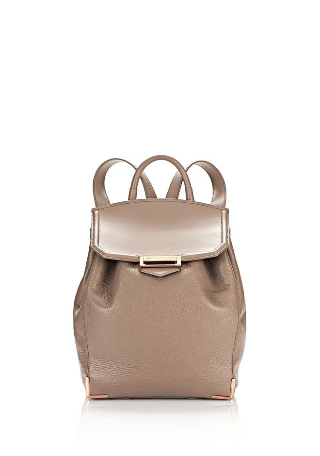 ALEXANDER WANG BACKPACKS Women PRISMA BACKPACK IN PEBBLED LATTE WITH ROSE GOLD