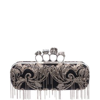 ALEXANDER MCQUEEN, Pouch, Metal Flower Embroidery Knuckle Box Clutch with Chain