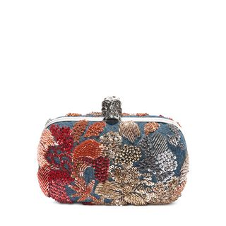 ALEXANDER MCQUEEN, Pouch, Washed Denim Embroidered Classic Skull Clutch