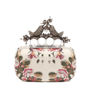 ALEXANDER MCQUEEN, Pouch, Floral Embroidery Bird Knuckle Clutch