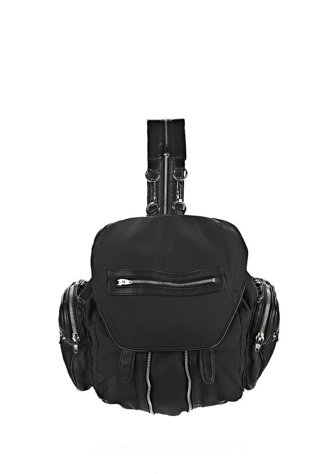 ALEXANDER WANG BACKPACKS MARTI IN BLACK LEATHER AND NYLON WITH RHODIUM
