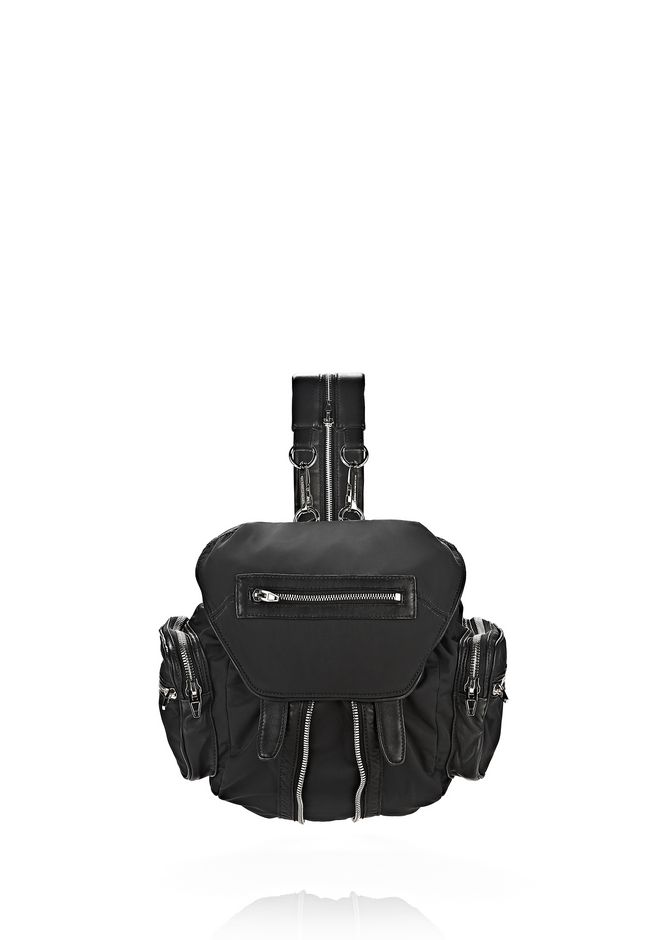 ALEXANDER WANG BACKPACKS Women MINI MARTI IN BLACK LEATHER AND NYLON WITH RHODIUM