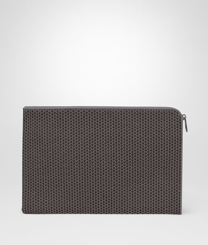 DOCUMENT CASE IN NEW LIGHT GREY ESPRESSO INTRECCIATO NAPPA CRAVATTERIA MOTIF