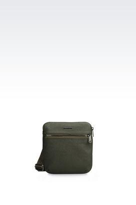 Armani Messenger bags Men flat messenger bag in faux saffiano