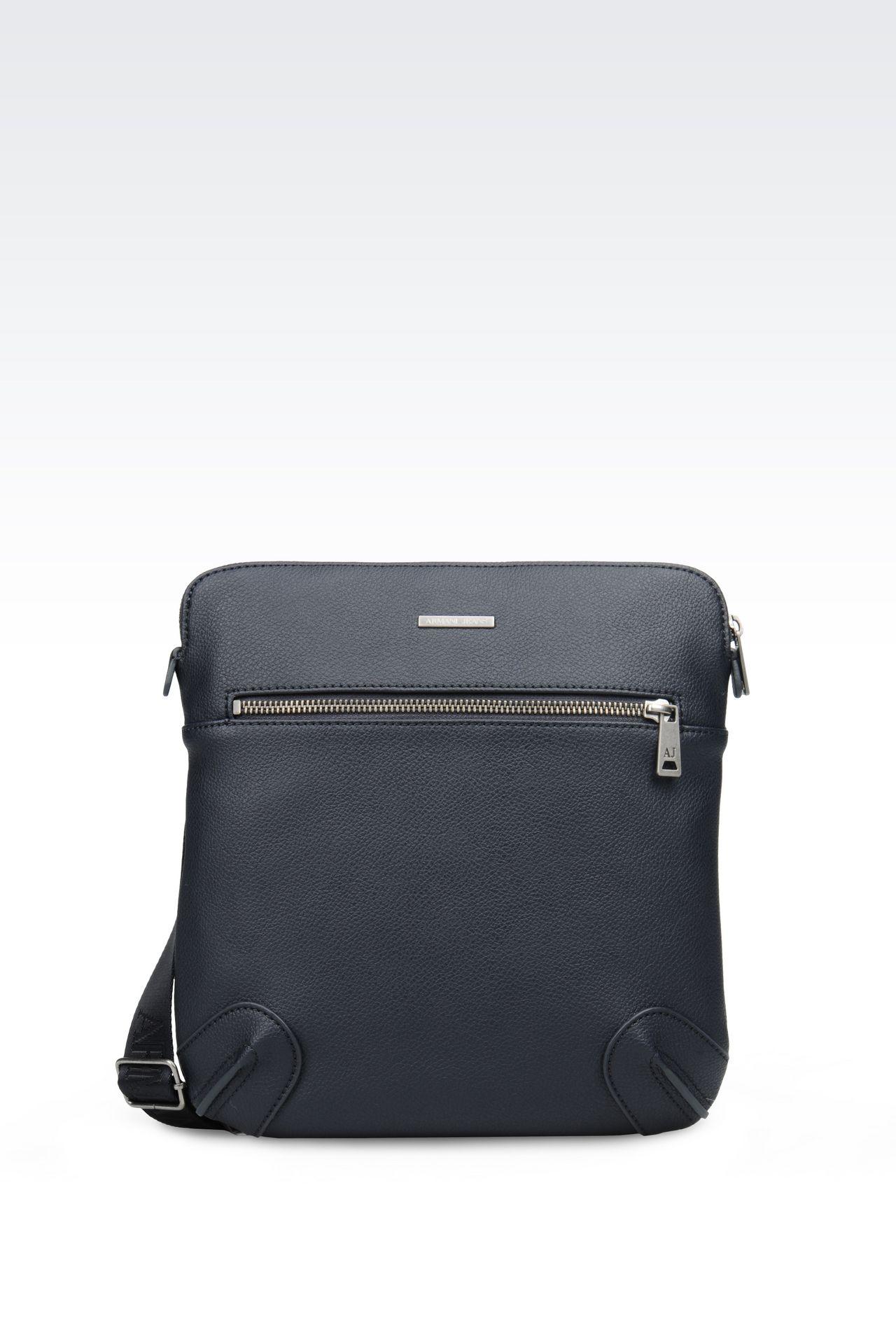 Armani Jeans Men FLAT MESSENGER BAG IN FAUX LEATHER, Polyurethane ...
