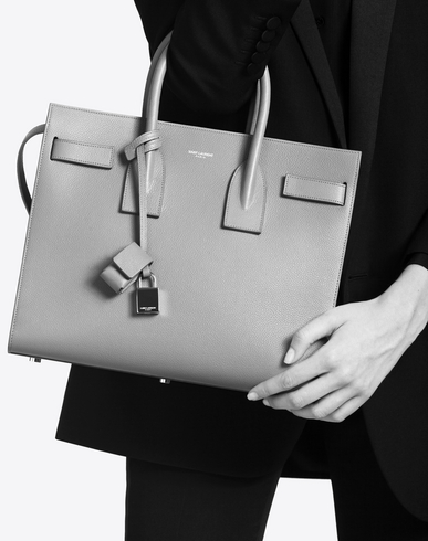 yves saint laurent satchel - classic small sac de jour bag in fog grained leather