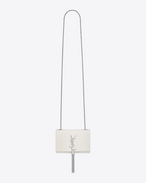 Classic Small KATE MONOGRAM SAINT LAURENT Tassel Satchel in Dove White Crocodile Embossed Leather