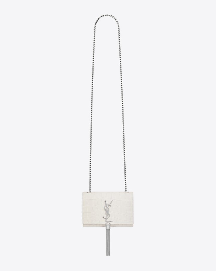 Saint Laurent Classic Kate Monogram Saint Laurent Clutch In Dove White Crocodile Embossed Leather