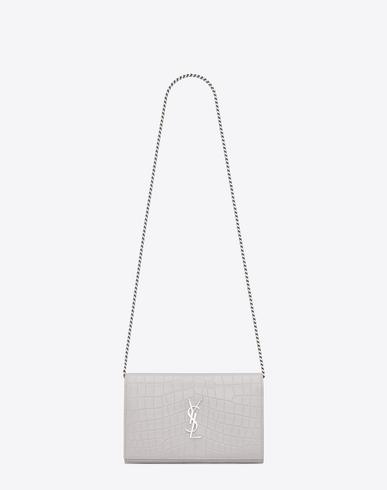 Monogram Saint Laurent Chain Wallet In Black Crocodile Embossed Leather