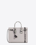 Classic Small SAC DE JOUR Bag in Grey Leather and White and Black Python Embossed Leather