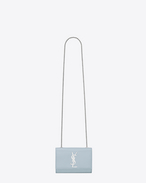 Classic Small KATE MONOGRAM SAINT LAURENT satchel in Sky Blue Grain de Poudre Textured Leather