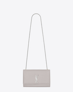 Classic Medium KATE MONOGRAM SAINT LAURENT Satchel in Light Grey Grain de Poudre Textured Leather