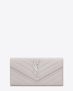 Large MONOGRAM SAINT LAURENT Flap Wallet in Light Grey Grain de Poudre Textured Matelassé Leather