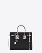 Classic Small SAC DE JOUR Bag in Black Grained Leather and White and Black Python Embossed Leather