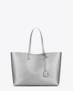 Große SAINT LAURENT Shopper-Totebag aus silberfarbenem Metallic-Leder