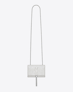 Classic Small KATE MONOGRAM SAINT LAURENT Tassel Satchel in Silver Metallic Leather