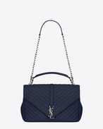Classic Large MONOGRAM SAINT LAURENT COLLÈGE Bag in Navy Blue Matelassé Leather