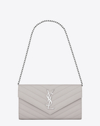 Small MONOGRAM SAINT LAURENT Chain Wallet in Light Grey Grain de Poudre Textured Matelassé Leather