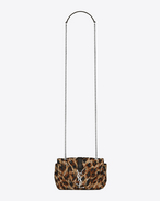 Classic Baby MONOGRAM SAINT LAURENT Chain Bag in Natural and Black Leopard Woven Polyester and Cotton and Black Leather