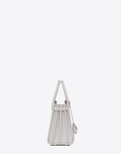 Classic Baby Sac De Jour Bag In Pearl White Crocodile Embossed Leather