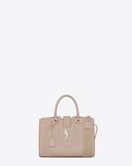 Baby MONOGRAM SAINT LAURENT CABAS Bag with Woven Cotton Strap in Powder Pink Leather