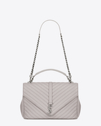 Classic Large MONOGRAM SAINT LAURENT COLLÈGE Bag in Light Grey Matelassé Leather