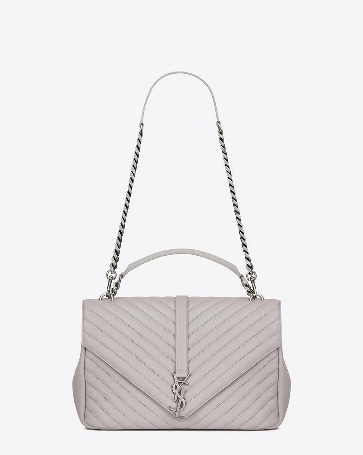 Yves Saint Laurent White Medium Monogram College Bag Ysl Clutch Purple