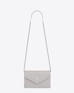 MONOGRAM SAINT LAURENT Envelope Chain Wallet in Light Grey Grain de Poudre Textured Matelassé Leather