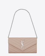 Small MONOGRAM SAINT LAURENT Chain Wallet in Powder Pink Grain de Poudre Textured Matelassé Leather
