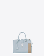 Baby MONOGRAM SAINT LAURENT CABAS Bag with Woven Cotton Strap in Light Blue Leather