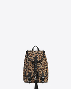 Small FESTIVAL Backpack in Natural and Black Leopard Woven Polyester and Cotton and Black Leather