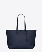 Large SHOPPING SAINT LAURENT Tote Bag in Navy Blue and Black Leather