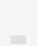 Petite pochette KATE MONOGRAMME SAINT LAURENT en cuir embossé façon crocodile blanc grisé