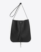 Medium JEN Flat Bag in Black Leather