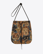 Medium JEN Flat Bag in Blue, Beige and Black Wild Cat Head Woven Polyester and Cotton and Black Leather