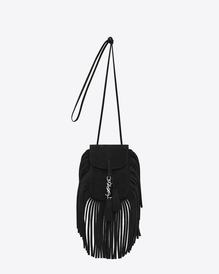 Saint Laurent Toy ANITA Fringed Flat Bag In Black Suede | YSL.com