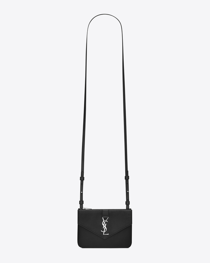 ysl silver leather handbag messenger