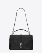 Classic Large MONOGRAM SAINT LAURENT COLLÈGE Bag in Black Crocodile Embossed Leather
