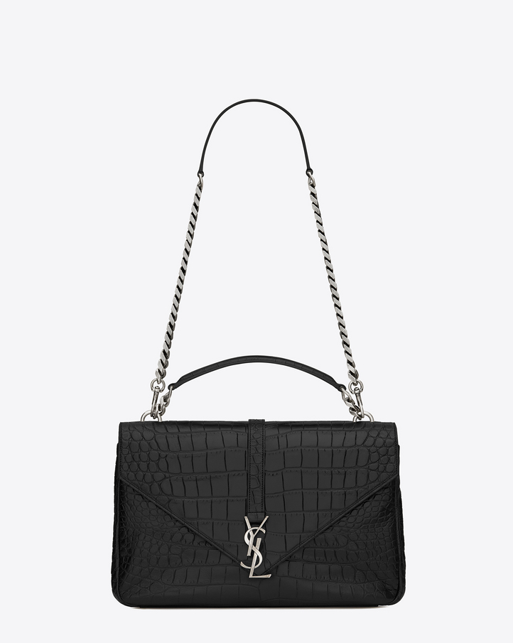 saint laurent classic large monogram saint laurent coll ge bag in black crocodile embossed. Black Bedroom Furniture Sets. Home Design Ideas