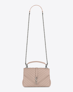 Classic Medium MONOGRAM SAINT LAURENT COLLÈGE Bag in Powder Pink Matelassé Leather