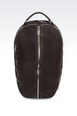 Armani Backpacks Men backpack in grained nubuck and smooth calfskin
