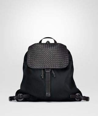 BACKPACK IN NERO TECHNICAL CANVAS AND INTRECCIATO CALF